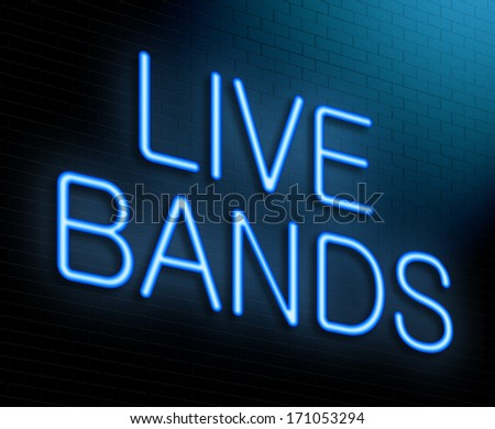 Illustration depicting an illuminated neon sign with a live bands concept. - stock photo