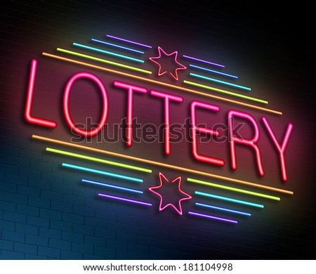 Illustration depicting an illuminated neon sign with a lottery concept.