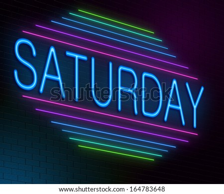 Illustration depicting an illuminated neon sign with a Saturday concept. - stock photo
