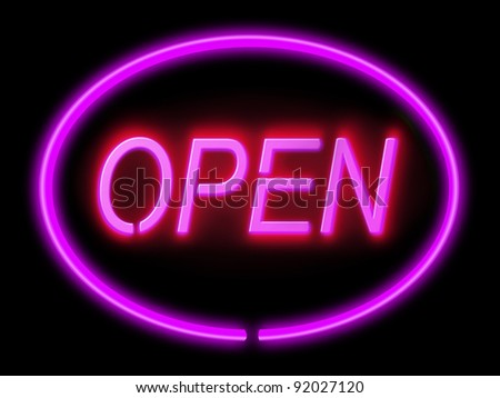 Illustration depicting an illuminated violet 'open' sign with black background,
