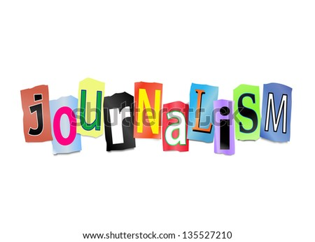 Illustration depicting cut out letters arranged to form the word journalism. - stock photo