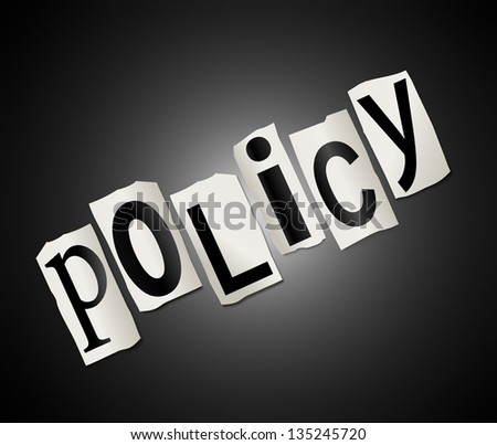 Illustration depicting cut out letters arranged to form the word policy. - stock photo