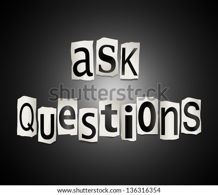 Illustration depicting cut out letters arranged to form the words ask questions. - stock photo
