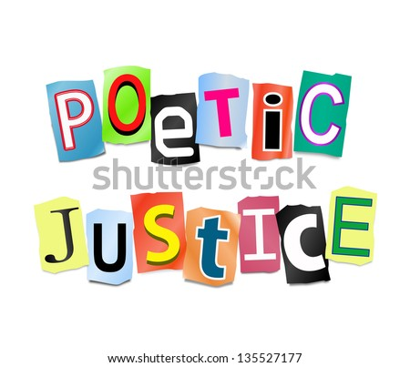 Illustration depicting cut out letters arranged to form the words poetic justice.
