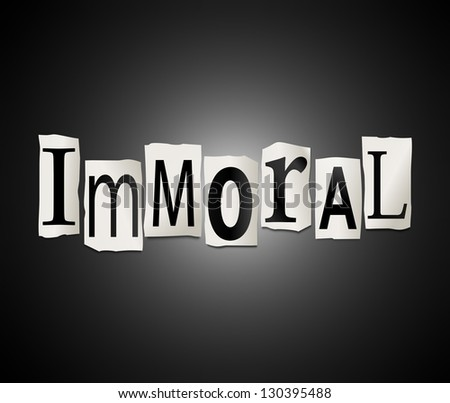 Illustration depicting cutout printed letters arranged to form the word immoral. - stock photo