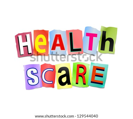 Illustration depicting cutout printed letters arranged to form the words health scare.