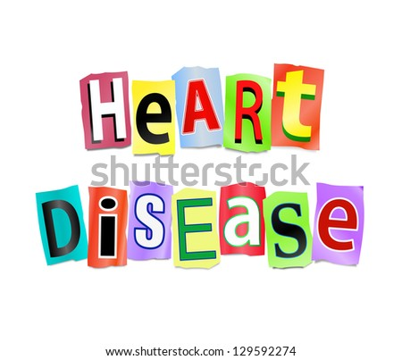 Illustration depicting cutout printed letters arranged to form the words heart disease.
