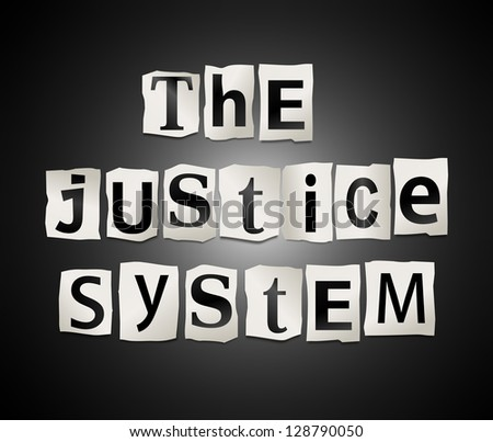 Illustration depicting cutout printed letters arranged to form the words the justice system. - stock photo