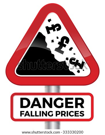 Illustration depicting falling prices represented by tumbling UK Pound signs crashing down a cliff on a red road sign. - stock photo