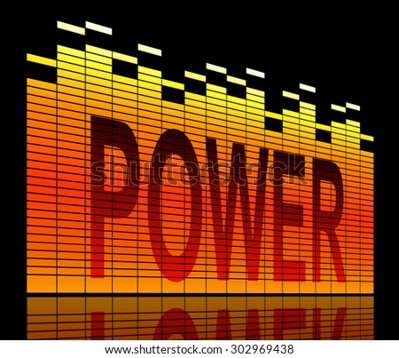 Illustration depicting graphic equalizer levels with a power concept. - stock photo