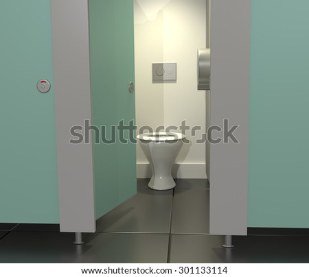 Illustration depicting public toilet cubicles in a row with one door open. - stock photo
