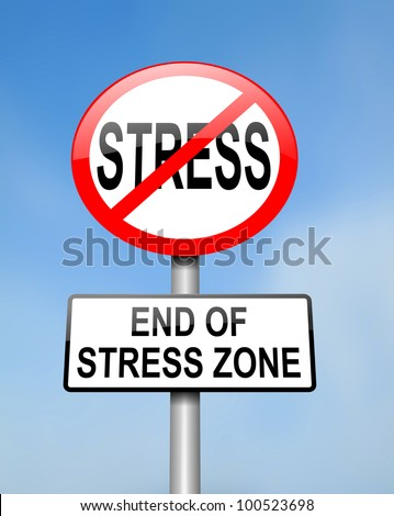 Illustration depicting red and white circular road sign with a stress concept. Blurred background.