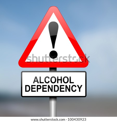 Illustration depicting red and white triangular warning road sign with a alcohol dependency concept. Blurred background.