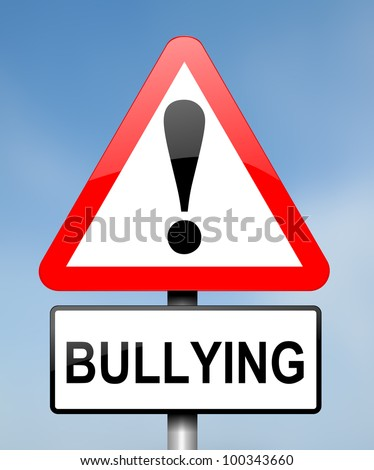 Illustration depicting red and white triangular warning road sign with a bullying concept. Blue blurred background.