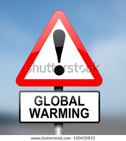 Illustration depicting red and white triangular warning road sign with a global warming concept.Blurred background.