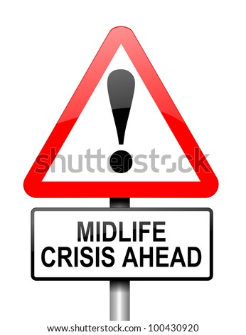 Illustration depicting red and white triangular warning road sign with a midlife crisis concept. White background. - stock photo