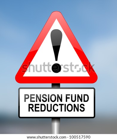 Illustration depicting red and white triangular warning road sign with a pension fund concept. Blurred background. - stock photo