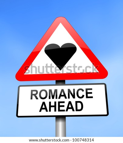 Illustration depicting red and white triangular warning road sign with a romance concept. Blue blurred background.