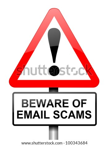 Illustration depicting red and white triangular warning road sign with an email scam concept.