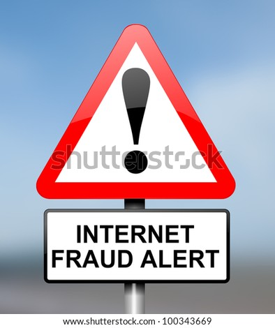 Illustration depicting red and white triangular warning road sign with an internet fraud concept. Blue blur background.