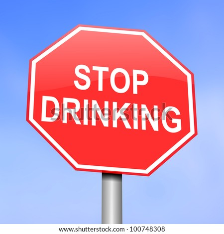 Illustration depicting red and white warning road sign with a alcohol consumption concept. Blue background.