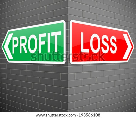 Illustration depicting signs with a profit or loss concept. - stock photo