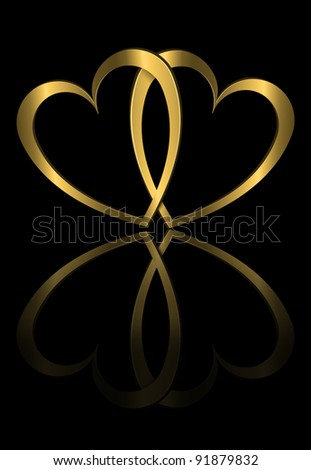 Illustration depicting two golden hearts arranged over black and reflecting into foreground. - stock photo