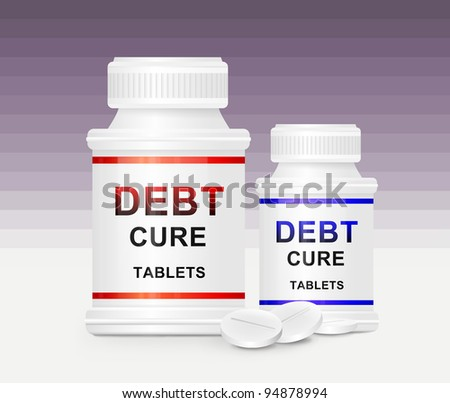 Illustration depicting two medication containers with the words 'debt cure tablets' on the front with violet striped background and a few tablets in the foreground. - stock photo