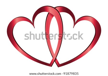 Illustration depicting two metallic red hearts arranged over white. - stock photo