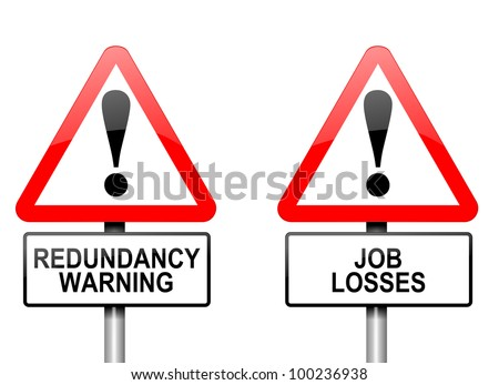 Illustration depicting two triangular warning road signs with a redundancy concept. White background. - stock photo