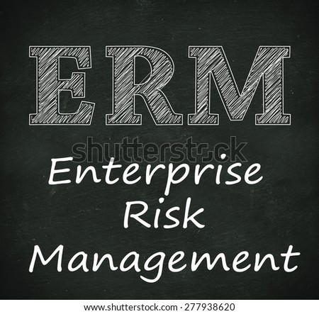 Illustration design of concept of erm - enterprise risk management on black chalkboard - stock photo
