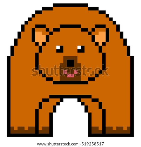 illustration design pixel art bear