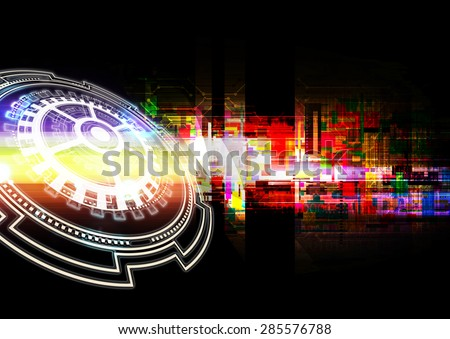 Illustration digital computer matrix technology, abstract background