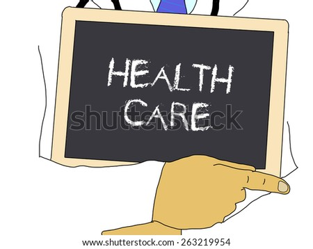 Illustration: Doctor shows information: Health care - stock photo