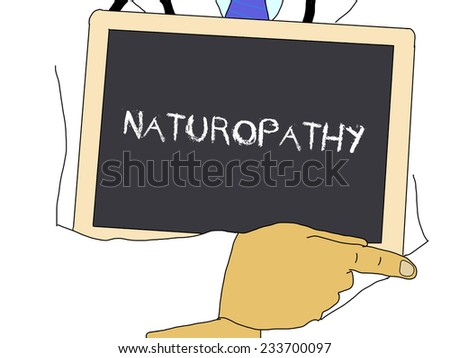 Illustration: Doctor shows information: naturopathy