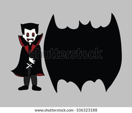 Illustration - Dracula and empty blank. - stock photo