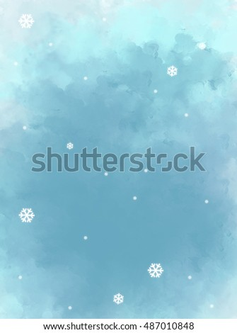 illustration drawing of blue painting grunge background with snow flakes. Idea of Christmas, celebration, holiday, merry, artistic, cute, fun, greeting card template wallpaper