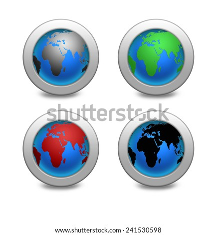 illustration Earth globe set. Earth four icons in different colors - stock photo