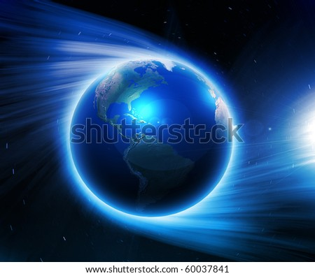 Illustration. Earth on a background of space with blue lines and lights