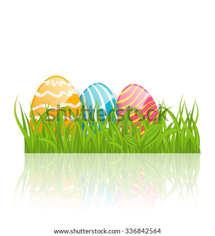 Illustration Easter background with paschal ornamental eggs  - raster