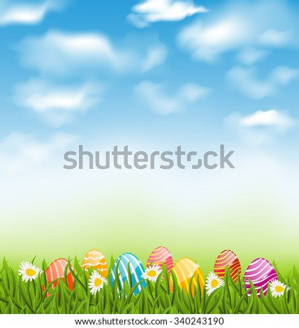 Illustration Easter natural landscape with traditional painted eggs in grass meadow, blue sky and clouds - raster