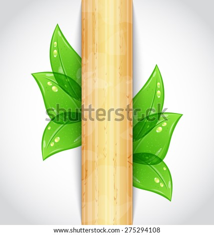 Illustration eco friendly background with green leaves, wooden texture - raster - stock photo