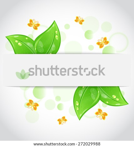 Illustration eco green leaves with with butterfly isolated on white background - raster - stock photo