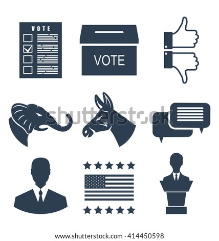 Illustration Elections, Campaign and Voting Set Signs. Symbols Vote of USA. Objects Isolated on White Background - raster - stock photo