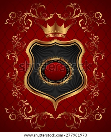 Illustration elegant gold heraldry frame - raster