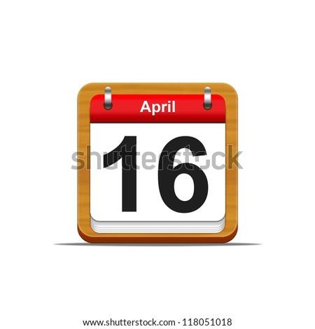 Illustration elegant wooden calendar on white background. - stock photo