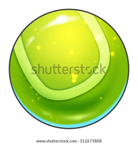 Illustration: Elements Set: Sport Ball: Tennis Ball. Fantastic Realistic Cartoon Life Style                - stock photo