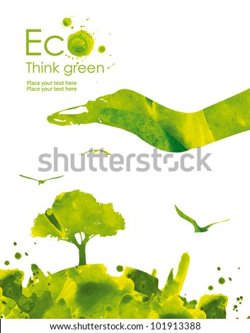 Illustration environmentally friendly planet from watercolor stains,isolated on a white background Think Green. Ecology Concept. - stock photo