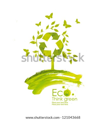 Illustration environmentally friendly planet from watercolor stains,isolated on a white background.. Green tree bloom. Recycle sign.  Think Green. Ecology Concept. - stock photo