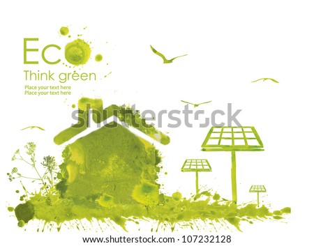 Illustration environmentally friendly planet. Green house and solar panels from watercolor stains,isolated on a white background. Think Green. Ecology Concept. - stock photo